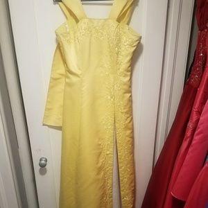 Yellow floor length dress